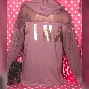 Pink Victoria's Secret mesh Bling  hoodie